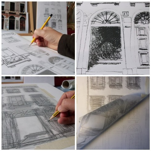 Casa Italia tracing line drawing onto gessoed board.