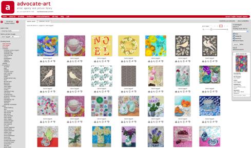 Screen shot of my portfolio on the Advocate Art site