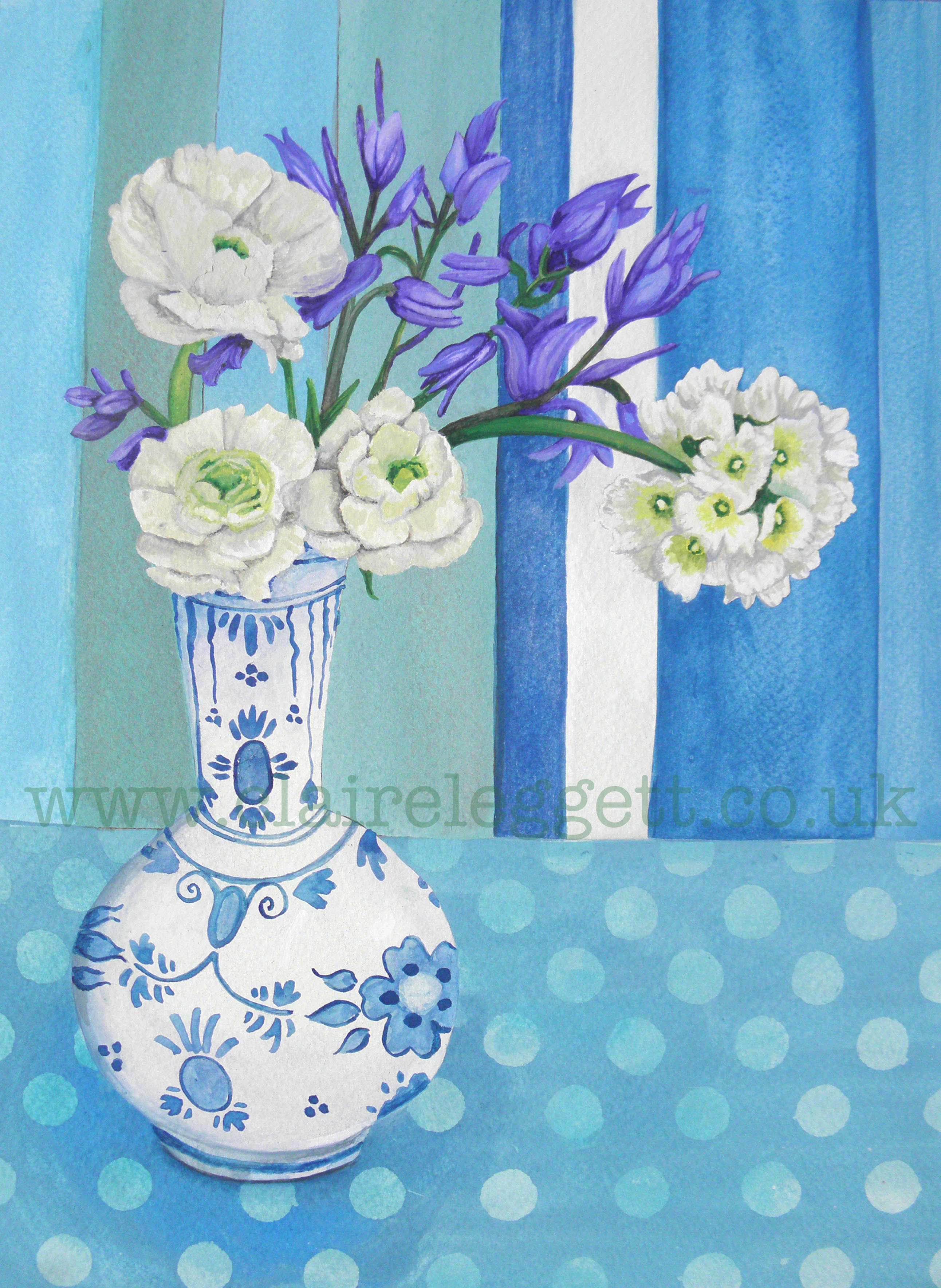 © Claire Leggett  Ranunculus and Bluebells