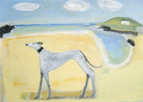 'Lurcher on the Beach' by Angela Harding
