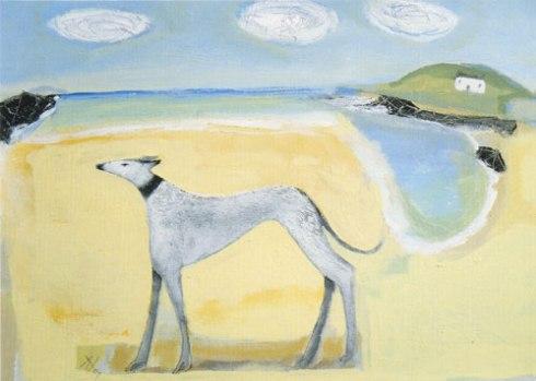 'Lurcher on the Beach' by Angela Harding