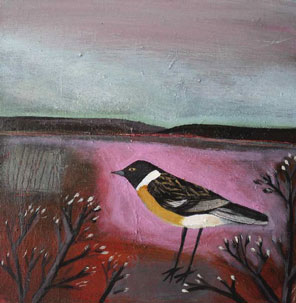 Stonechat and Hills   Angela Harding