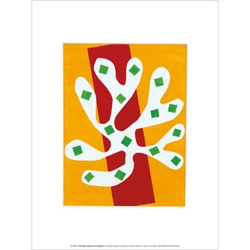 Matisse - White Algae On Orange and Red Background
