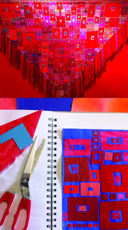 red scarf and collage claire leggett