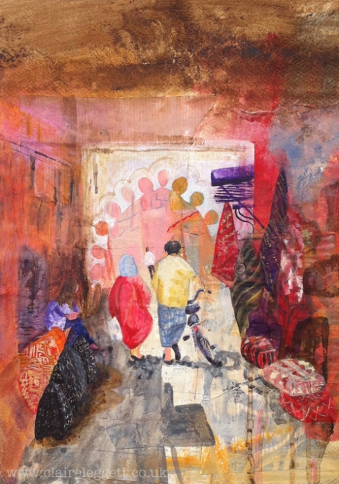 Claire_leggett_painter_Strolling in the Souk