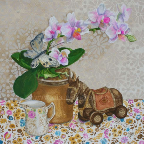 Claire_Leggett_painting_Orchid, Horse and Butterfly_w'mkdpsd