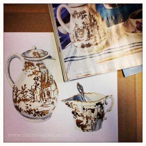 Claire_Leggett_watercolour painitng tea things