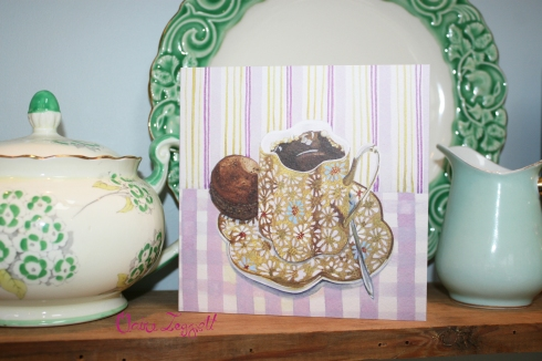 claire leggett greeting card coffee macaron