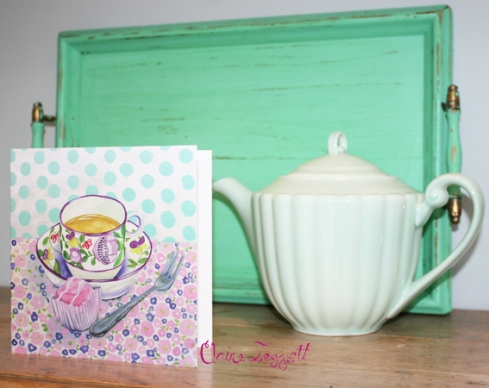 Claire Leggett greeting card tea and cake