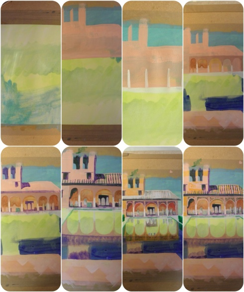 Palacio del Partal painting collage